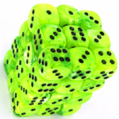 Bright Green & Black Vortex 12mm D6 Dice Block